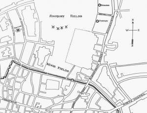 London map showing Shakespearean theatres