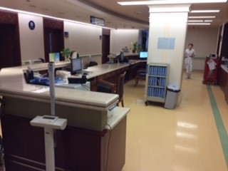 Nursing station in an inpatient ward at Run Run hospital