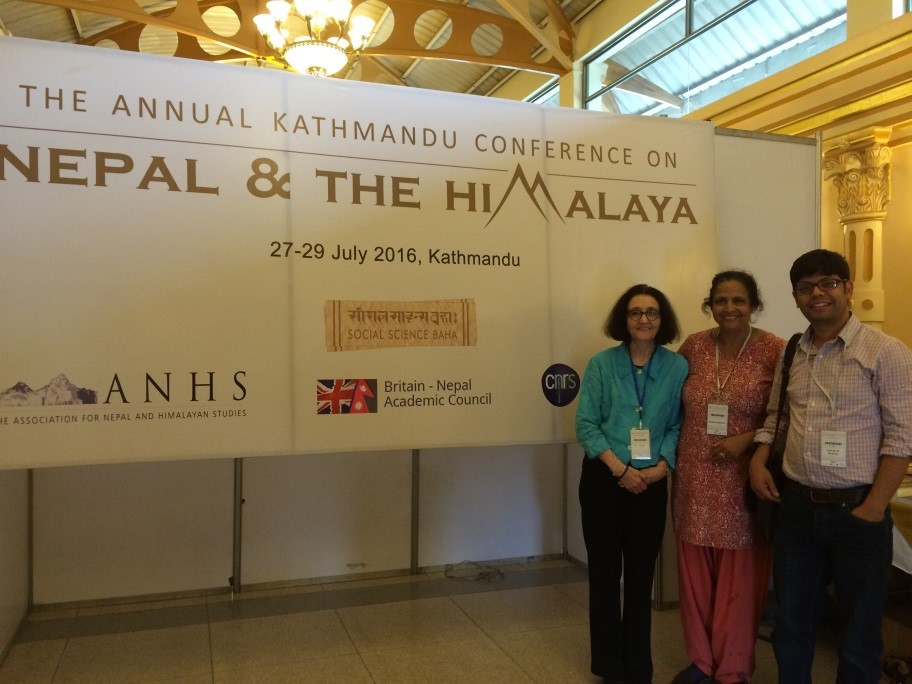 Pam, Radha and Jeevan at the conference