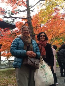 Radha & Pam visiting a temple to see Autumn leaves