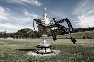 The Camanachd Cup, pictured on the centre spot at Mossfield Park, Oban.