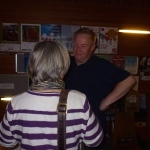 Peter Arnott talking to a spectator at the launch.